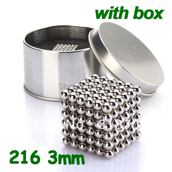 216 pcs Diameter 3mm Buckyballs Neocube Magic Cube Puzzle Magnetic Magnet Balls Spacer Beads Silver Neodymium Education Toy +Box(China (Mainland))
