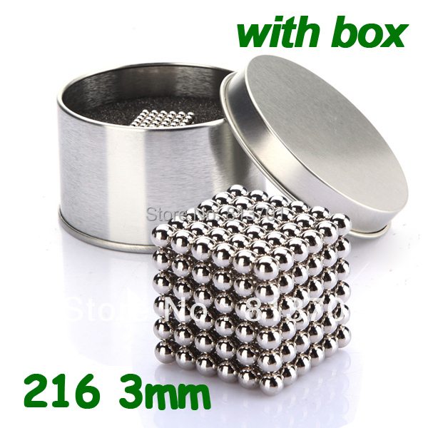 216 pcs Diameter 3mm Buckyballs Neocube Magic Cube Puzzle Magnetic Magnet Balls Spacer Beads Silver Neodymium Education Toy +Box(China (Mainland))