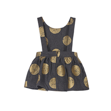 YKYY YAKUYIYI Golden Dot Girls Dress Back Zipper Children Dress Girls Clothing Sleeveless Baby Girls Bubble Overalls Dress(China)
