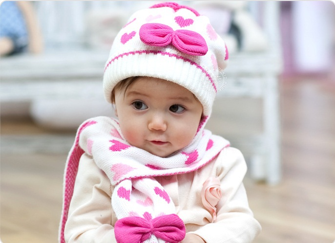 (Hat&scarf 1set) New 2015 Autumn Winter Baby girl heart knitted hat scarf set(China (Mainland))