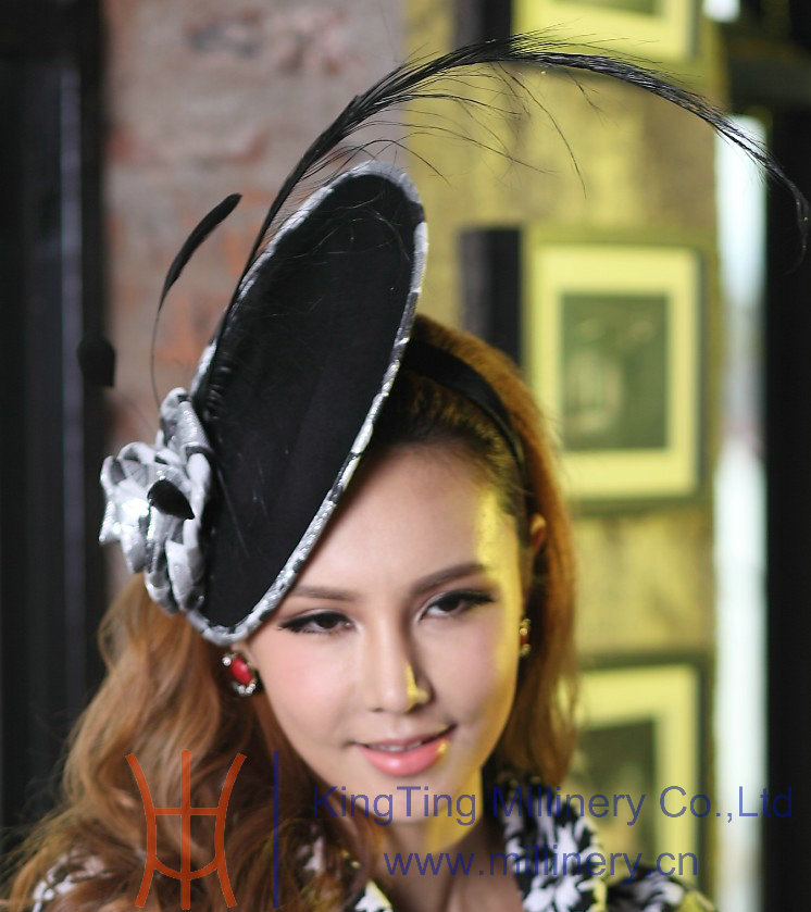 Free Shipping Fashion Women Fascinator Hat Hair Accessories Feather Fascinator Black Feather Ladies' Hair Accessorie Black Rose(China (Mainland))