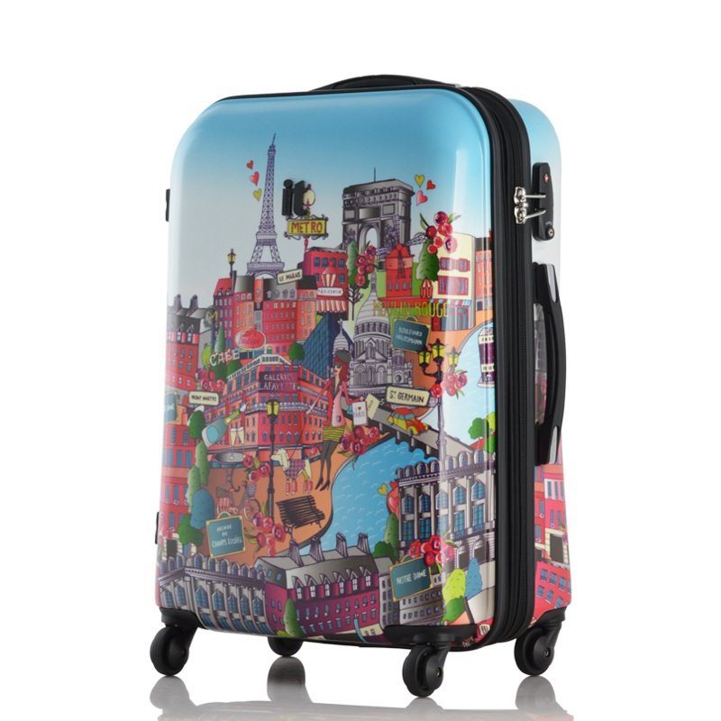 Europe and America Style Glossy cartoon city Paris Pattern spinner rolling travel luggage<br><br>Aliexpress