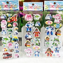 Fashion Cute Robocar Poli Toy Bubble stickers,Korea Robot Car Transformation Toys Best christmas Gifs For Kids toys wall sticker(China (Mainland))