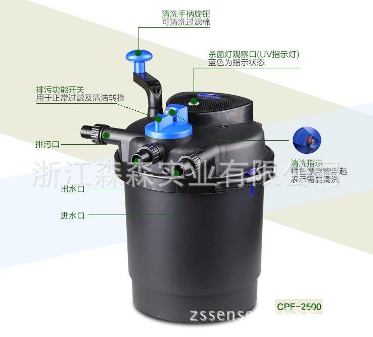 Cpf 2500 densa rejilla piscina estanque de filtro vivero for Vivero el estanque