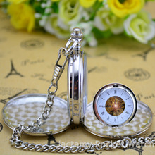 Fashion Double Open Mechanical Pockets Watch Vintage Pendant Pocket Watch Full Stainless Steel Mechanical Military Pocket Watch