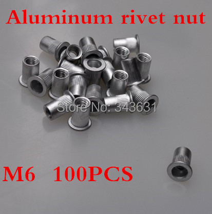 100pcs High Quality m6 Aluminum Insert rivet nut  blind insert nut<br><br>Aliexpress
