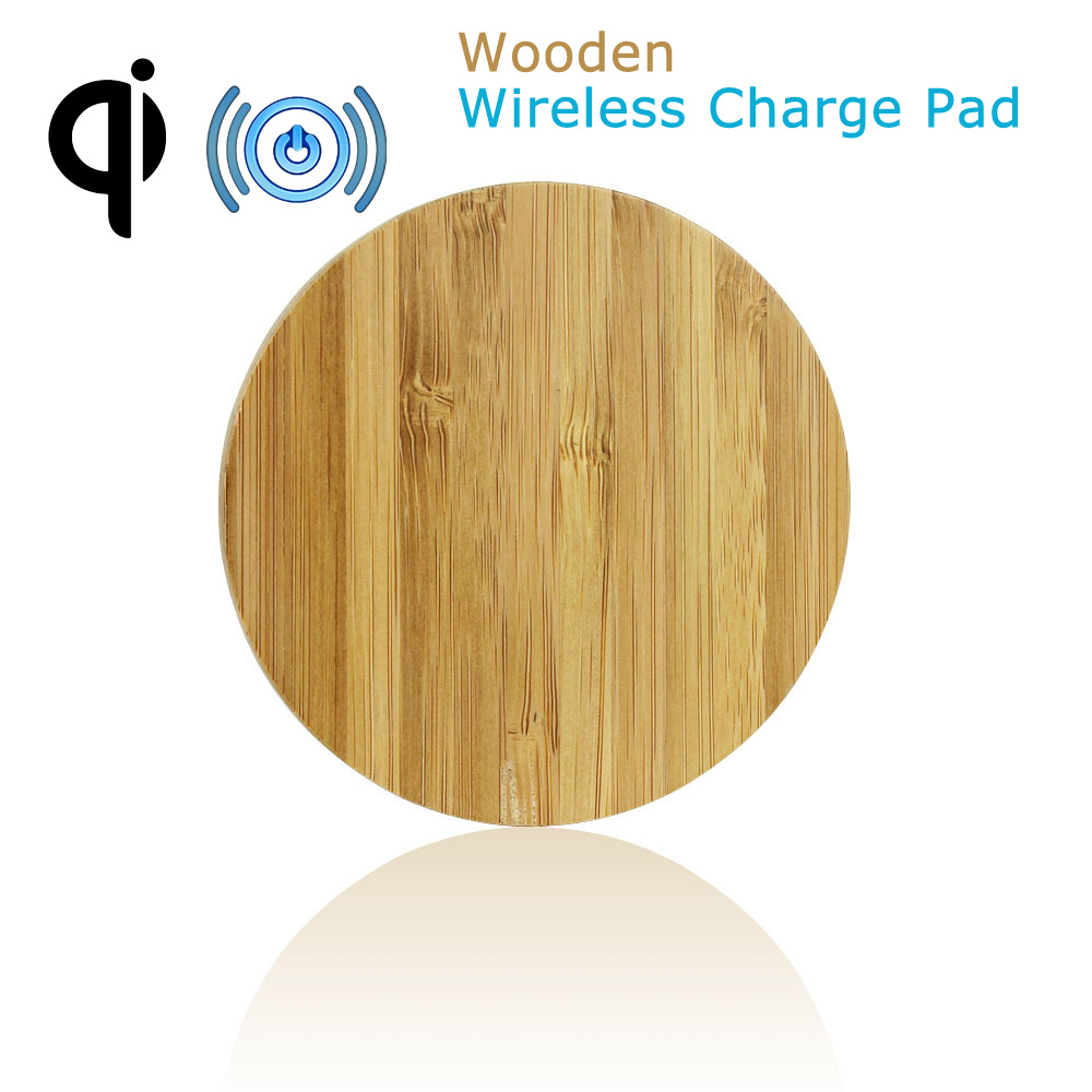 2015 New Wooden Bamboo Mini Tiny Qi Stand Wireless Charger