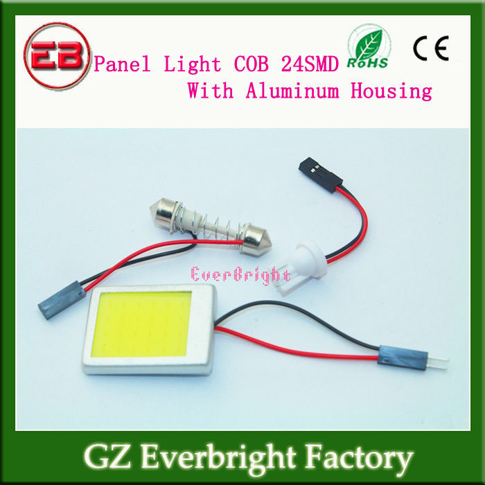 Aluminum Housing!! 120Pieces/lot COB 24 Chips Panel Light 12V DC With T10 + Festoon Adapters 24 SMD 38MM*28MM COB Chips White<br><br>Aliexpress