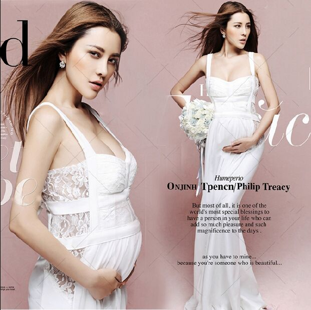 Maternity Photography Props Pregnant Women Noble white Long Cute Elegant Sexy Dress Romantic Photo Shoot Fancy costume Size L