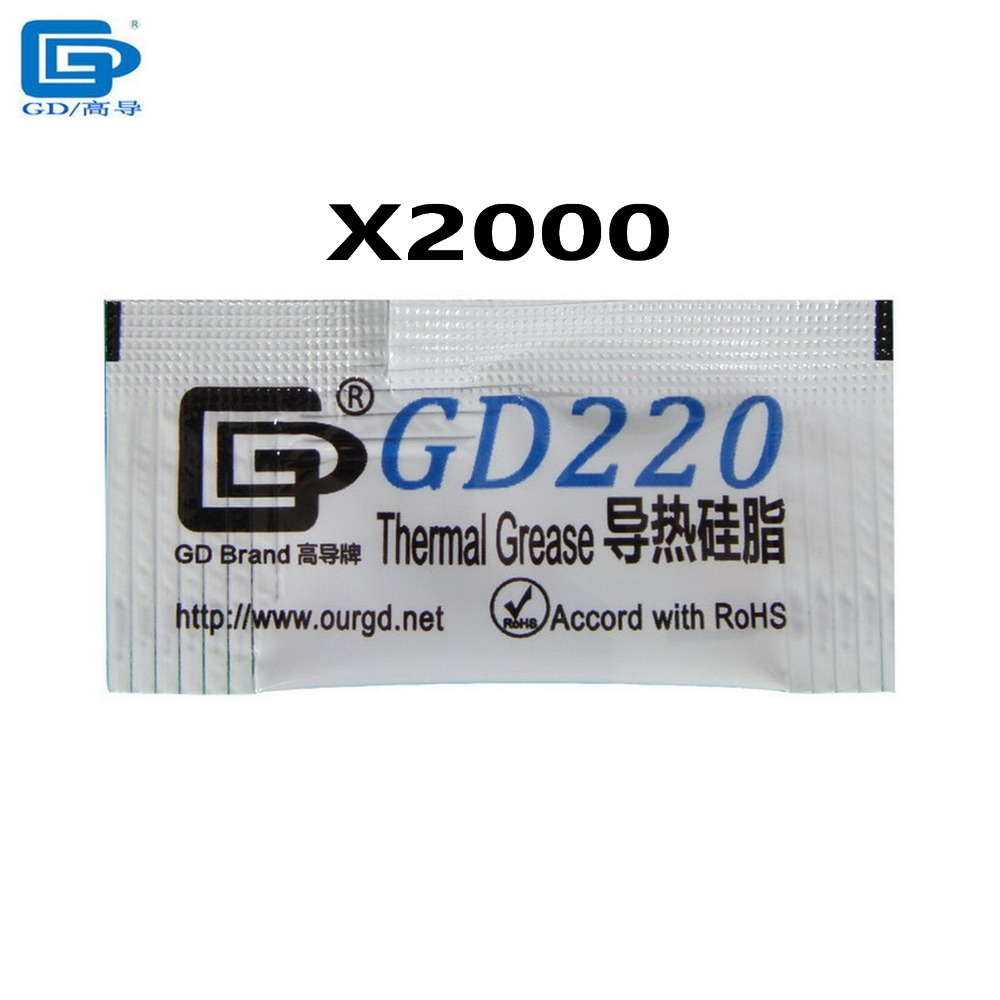 2000pcs/lot 0.5g gray GD220 thermal conductive compound grease paste silicone for CPU GPU LED<br><br>Aliexpress