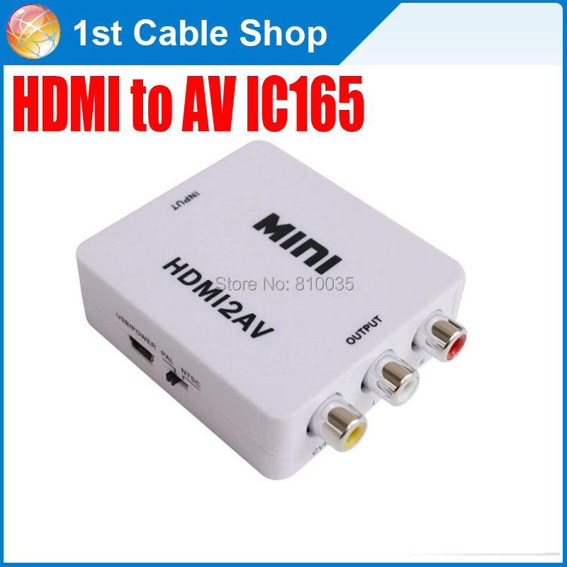 Free DHL&Fedex shipping 100PCS/lot High quality IC165 HDMI to AV to HDMI RCA converter in retail package(China (Mainland))
