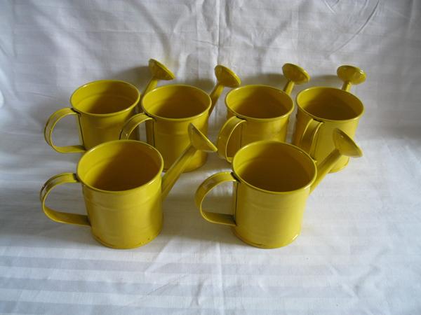 Yellow Mini Small Smart Decorative Watering Cans Planter