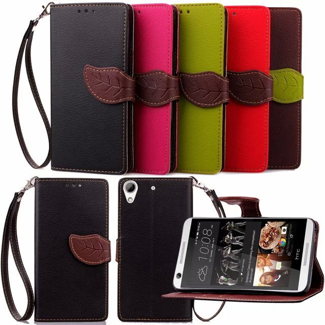 2016 New Luxury Leaf Flip PU Leather Mobile Phone Bag For HTC Desire 626 5.0inch With Wallet Card Slot Protector Case(China (Mainland))