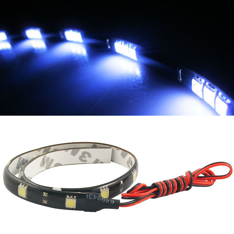 Free Shipping 2pcs lot 30cm 15 SMD White Waterproof Lights High Power Car Auto Decor Flexible
