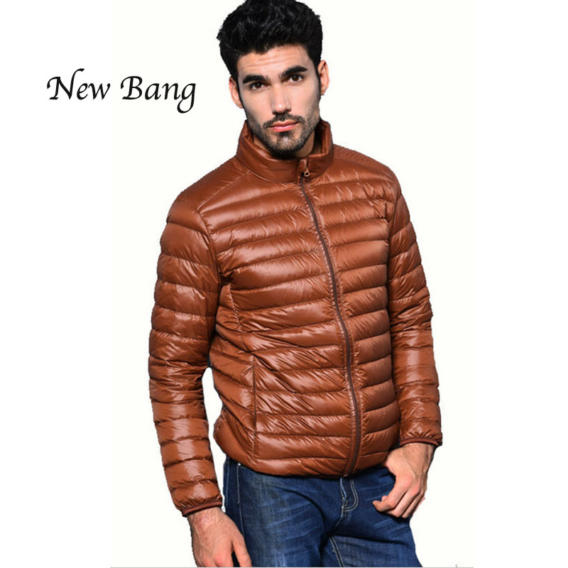New Men Ultra Light Down Jacket Winter White Duck Down Stand Collar Plus 3XL 9Colors Navy Black