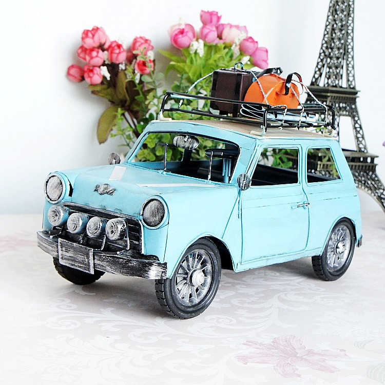 Metal crafts classic vintage car models travel creative gifts children's toys Decoration Photography props(China (Mainland))
