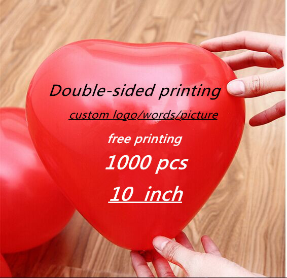 1000 pcs 10 inch Personalized custom heart Balloons Logo/Words/Picture Free Designe double-sided Printing Balloons<br><br>Aliexpress