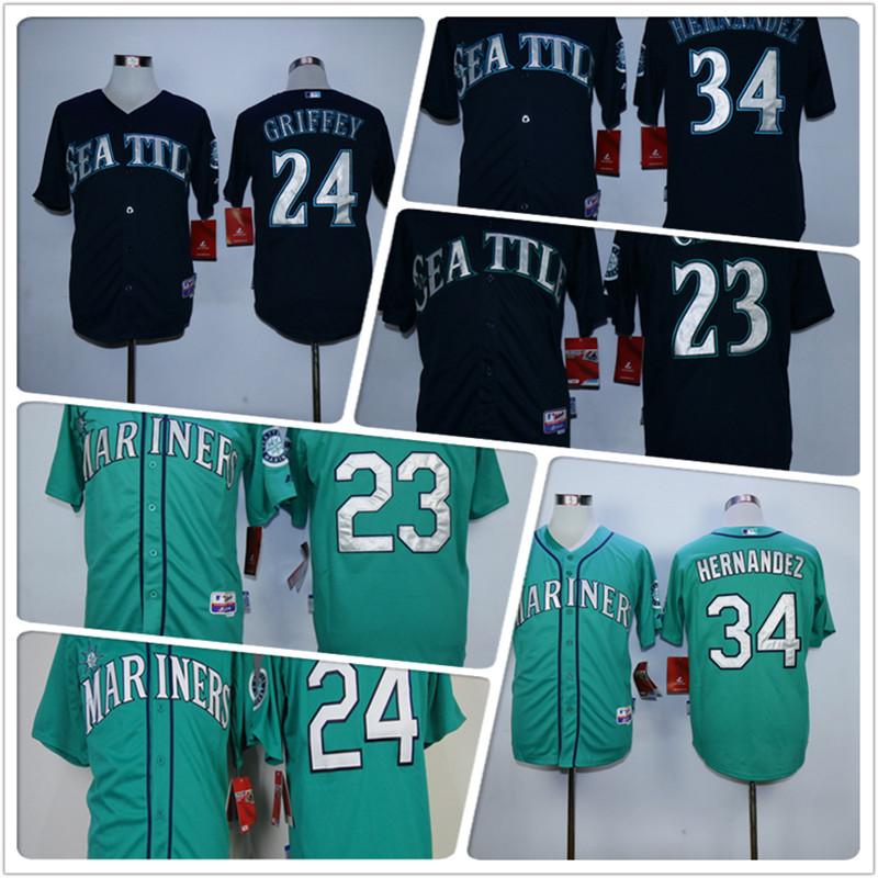 Cheap mens Seattles #23 Nelson Cruz #24 #34 100% Stitched Baseball Jerseys color Green black Jerseys top quality(China (Mainland))