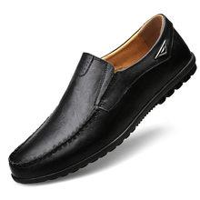 Мужская повседневная обувь из натуральной кожи, люксовый бренд 2019, мужские лоферы, Мокасины, дышащие слипоны, черная обувь для вождения разм...(China)