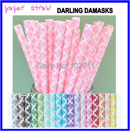 NEW 2015 DESIGN Pink Damask Paper Straws (Pack of 25 Straws)Weddings, Parties, Showers, Gifts** Pink Wedding, Pink Shower(China (Mainland))