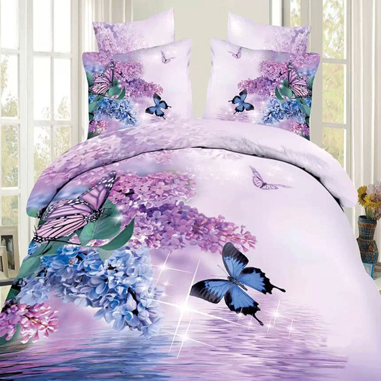 Blue and Purple Lilac Butterfly 3D Oil Painting Bedding Set 100% Cotton Reactive Printing Floral Bed Sets Queen Size ROMORUS(China (Mainland))
