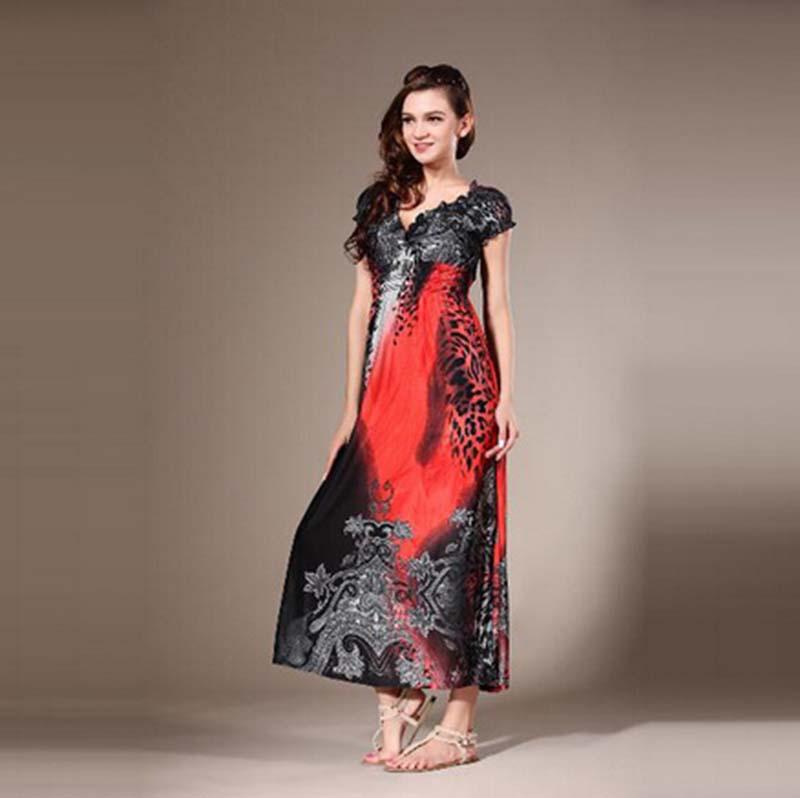 Plus Size Women Summer Leopard Vestidos Dresses 5XL Sexy Maxi Long Beach Dress 6XL Large Big Size Dark Blue Clothes 4XL 3XL 2XL(China (Mainland))