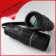 Envío gratis película verde 16 x 52 66 M / 8000 M campo HD telescopio Monocular deportes caza Spotting Scope concierto SOMT-001