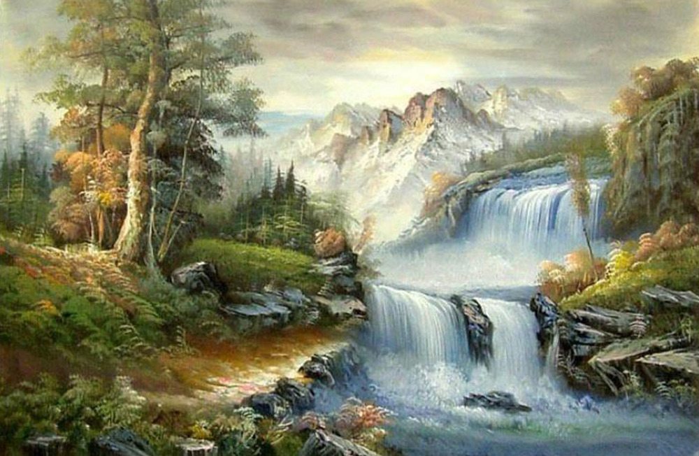 Forest Waterfall Drawing Landscape Waterfalls Diy