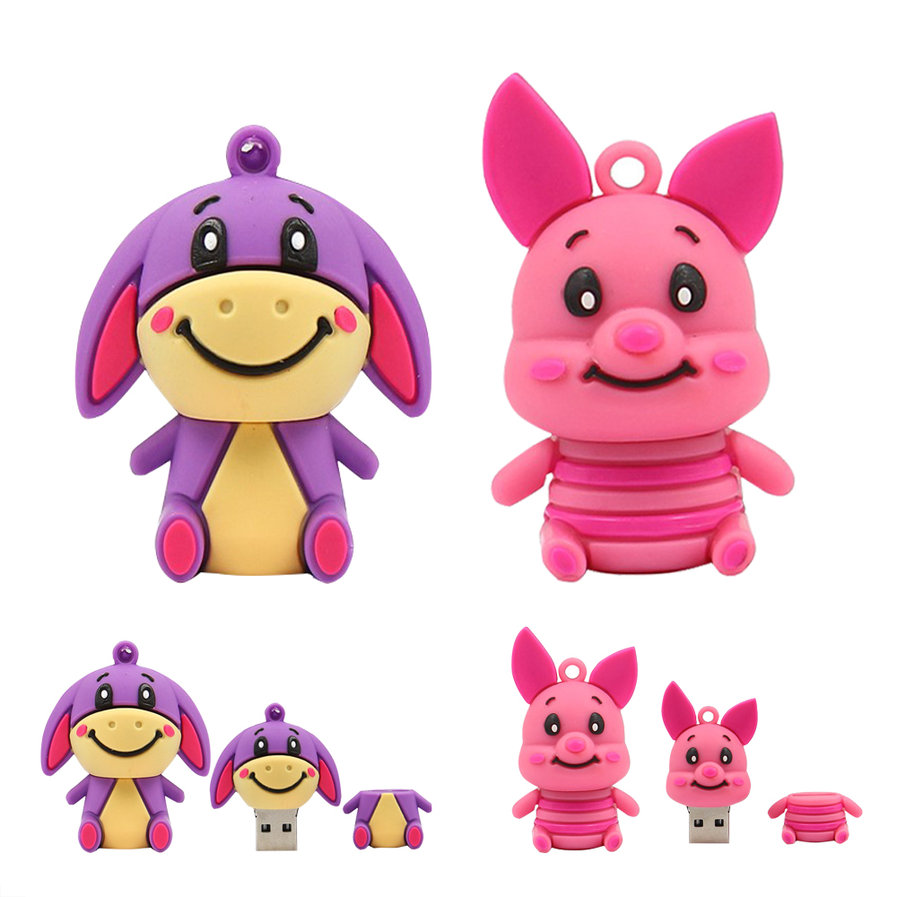 animal Little tiger/Pink pig/donkey usb flash drive 64g pen drive 32g pendrive 16g 8g 4g memory stick U disk free drive download(China (Mainland))