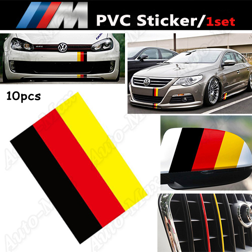 ", 10 10"" Germany Flag Color Stripe Decal Sticker Euro Car Audi BMW MINI Mercedes Porsche Exterior Interior Decoration"