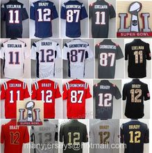2017 Patch LI 28 James White Jersey Blue 11 Julian Edelman Jersey 12 Brady Jersey 87 Rob Gronkowski(China (Mainland))