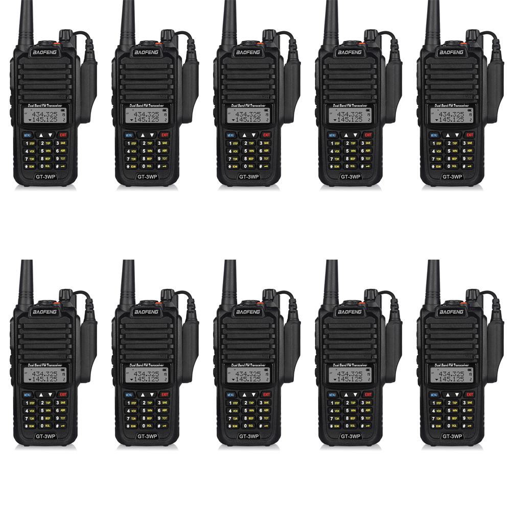 10pcs Baofeng GT-3WP IP67 Waterproof VHF/UHF 136-174/400-520 MHz Dual Band Transceiver Ham Two Way Radio Walkie Talkie(China (Mainland))