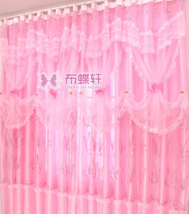 Four Layer Beautiful Curtains for Wedding Room Korean Stlye Elegant living room curtains Romantic finished curtains Voile(China (Mainland))
