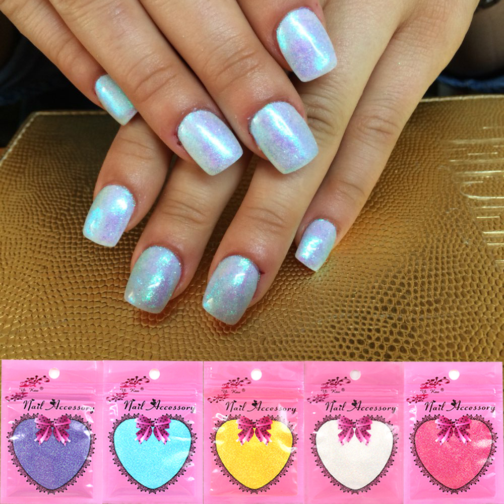 New Fashion Nail Glitter Art Tips Gradient color Mermaid Effect Glitter powder Decoration For Women(China (Mainland))
