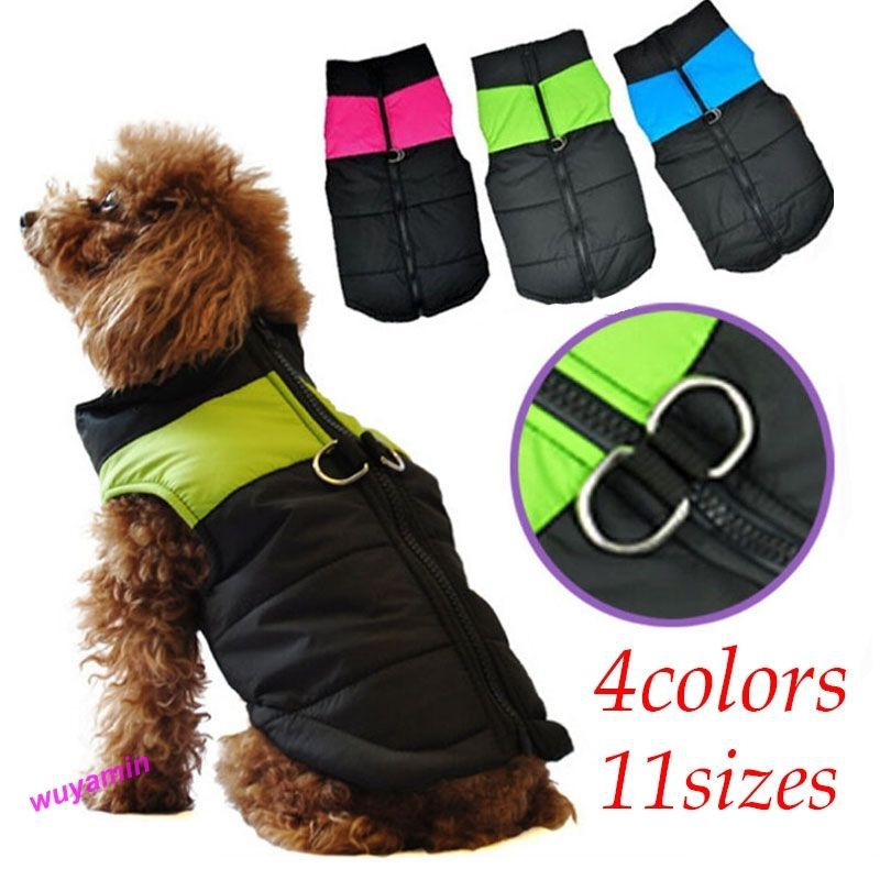 6 Sizes Small Waterproof Dog Coat Jacket Winter Quilted Padded Puffer pet clothes E6727(China (Mainland))