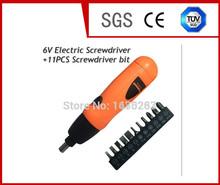 Nuevo destornillador eléctrico taladro inalámbrico 6 V + 11 unids destornillador conjunto de bits herramientas hogar DYI envío gratis