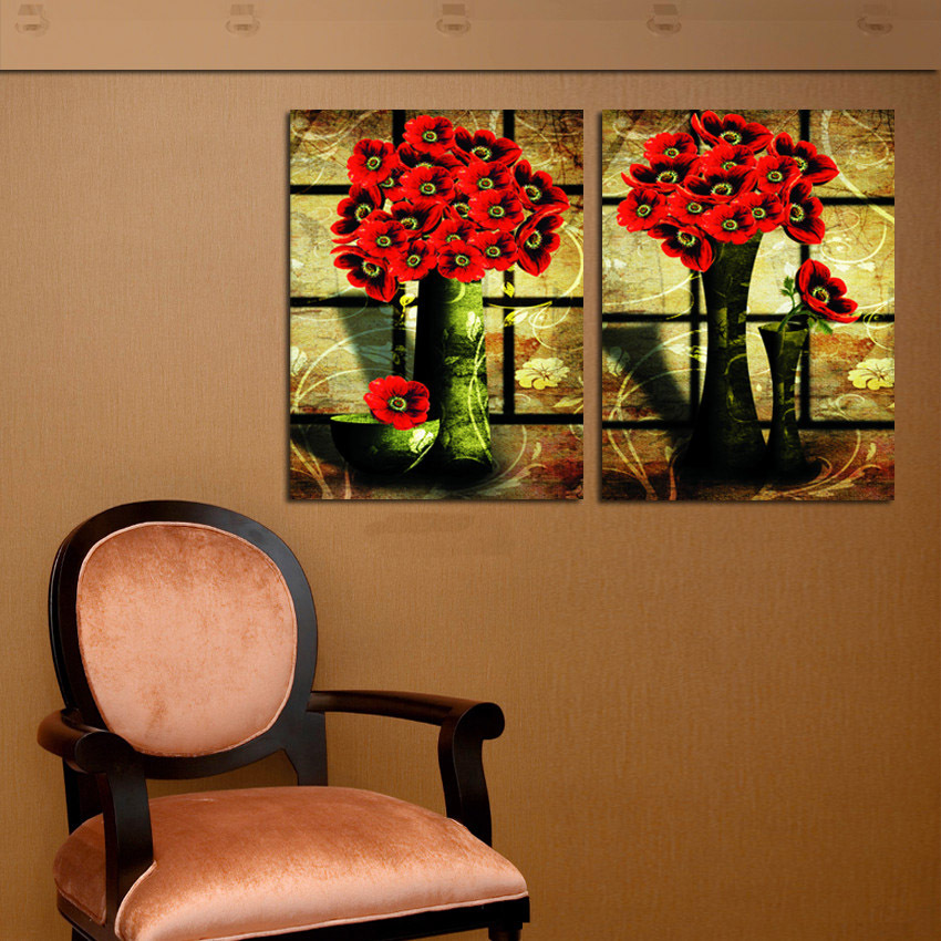 2 Panel Set Old Design Vintage Still Life Oil Painting On Canvas Red Flower Vase Decorative Pictures For House Wall Decoration(China (Mainland))