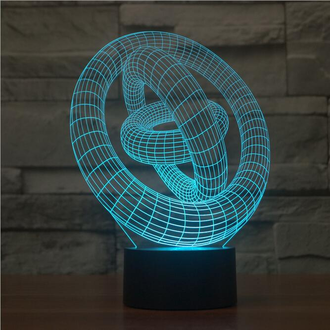 Colorful Light touch switch three ring 3D LED lamp creative visual illusion lamp light gradient Acrylic Vision Mood Lamp(China (Mainland))
