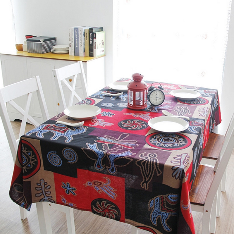 Southeast Asian style Mayas pattern tablecloth quality cotton & linen kitchen dining table cloth multi functional cloth Q95(China (Mainland))