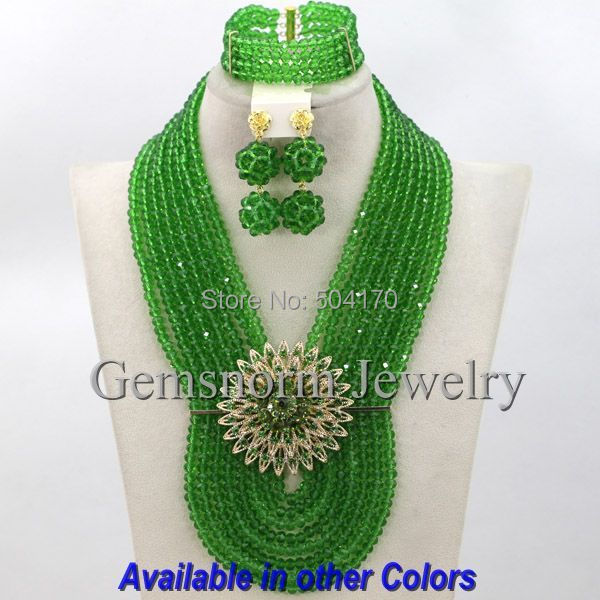 Terrific Green Costume African Beads Jewelry Set Indian Nigerian Bridal Jewelry Set Hot Sale 2015 Free shipping GS262<br><br>Aliexpress