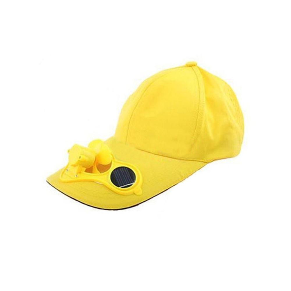 IG Wholesale Yellow Solar Powered Air Fan Cooled Baseball Hat Camping Traveling(China (Mainland))