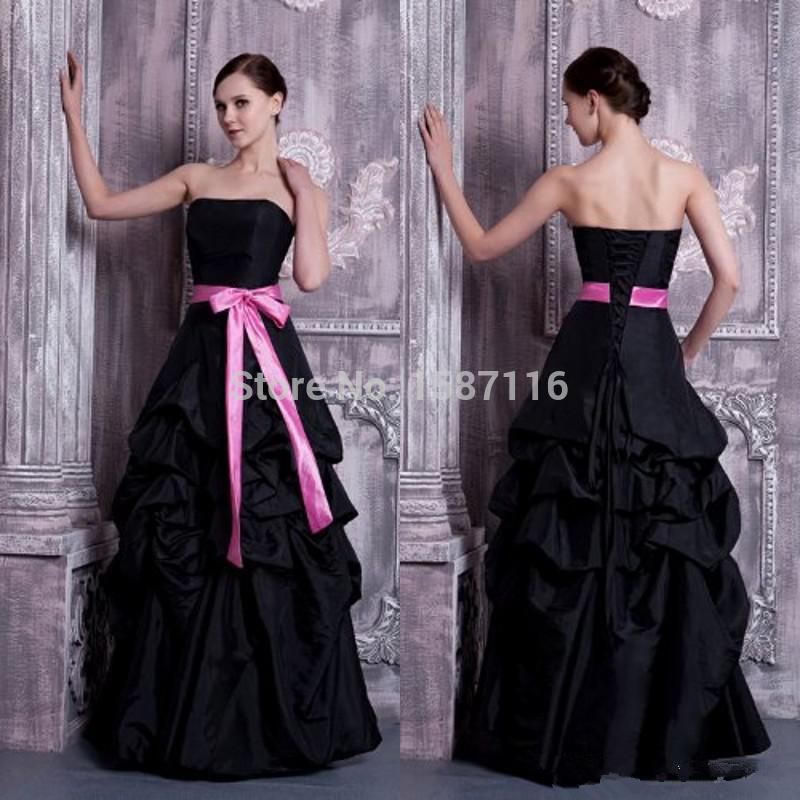 pas cher bretelles Halloween robe de bal en taffetas noir robe de ...