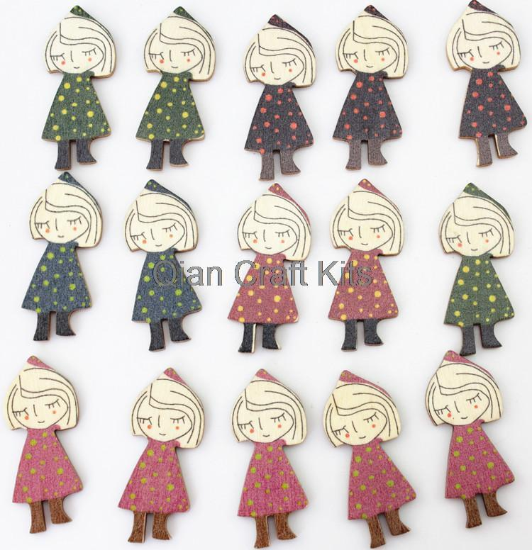 200pcs riding hood counrty girl Wooden pendant wood ornament 45mm wholesale for scrapbook decor,sewing riding hood girl(China (Mainland))