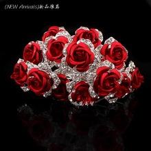 Commercio all'ingrosso 10 pz rosso fiore di cristallo strass donne della festa nuziale nuziale accessori per capelli delle forcelle clip grip monili dei capelli  (China (Mainland))
