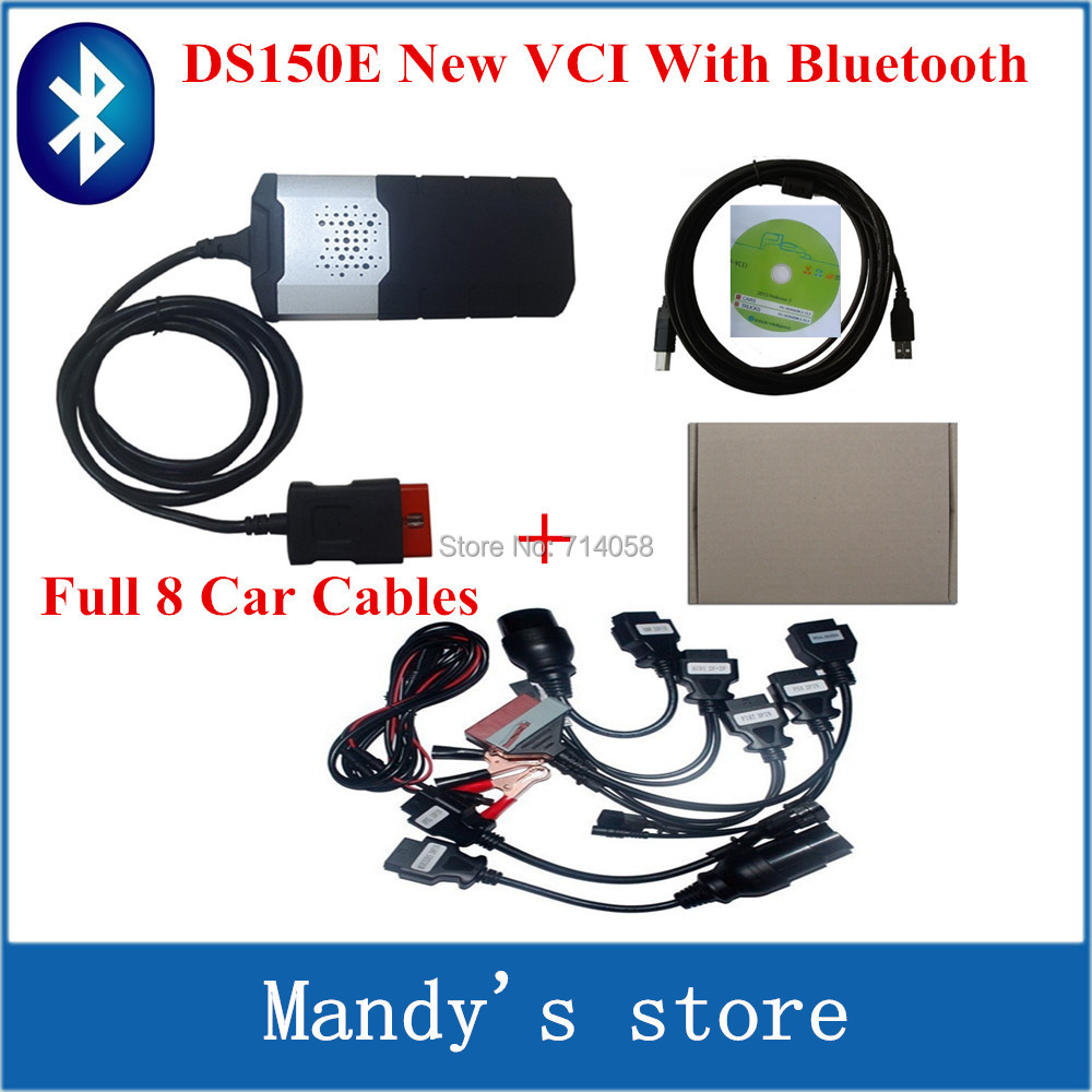 Quality A+++2014.R3 R2 new vci ds150e bluetooth SCANNER TCS cdp pro plus LED 3 IN1 CDP DS150+ Full 8 Car Cable