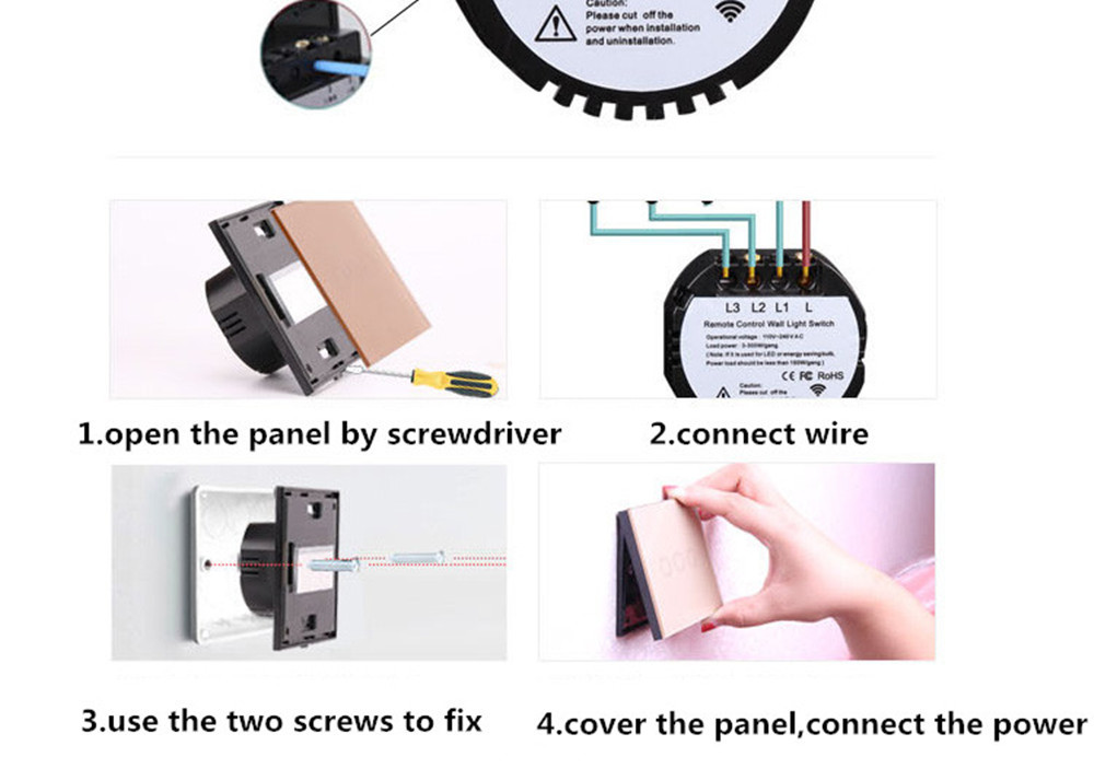 EU/UK Standard Waterproof  Touch Switch Wall Light Switch Remote control Control Light Switch Touch Button 1/2/3 Gang 170V~240V