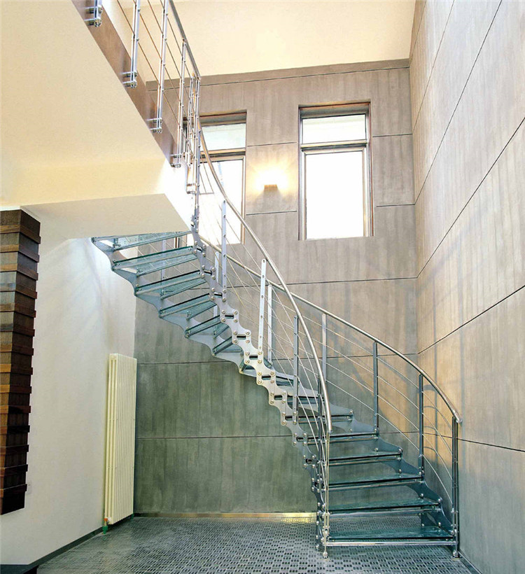 home using circular staircase with tempered glass tread and rod railing(China (Mainland))