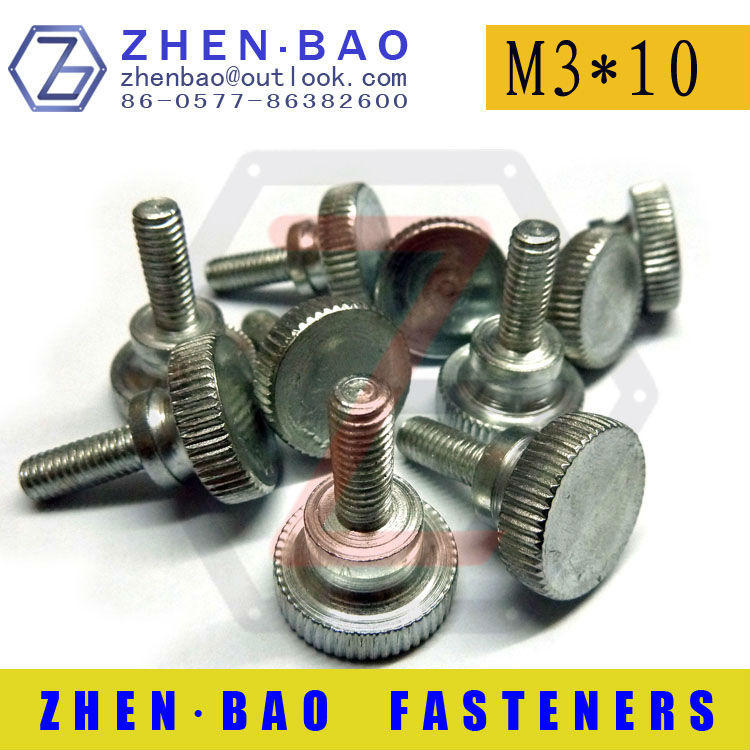 [ M3*10mm ] DIN464-B,Knurled thumb screws,special head screw,White zinc plated screw,chinese screws,(Manufacturer)<br><br>Aliexpress
