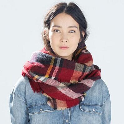 Women Fashion Accessories Popular Oversized Tartan Blanket Imitation Cashmere Scarves Plaid Shawl Checked Pashmina Scarf - Shenzhen Sundah Tech Co., Ltd.(Craft & Gift Dept. store)