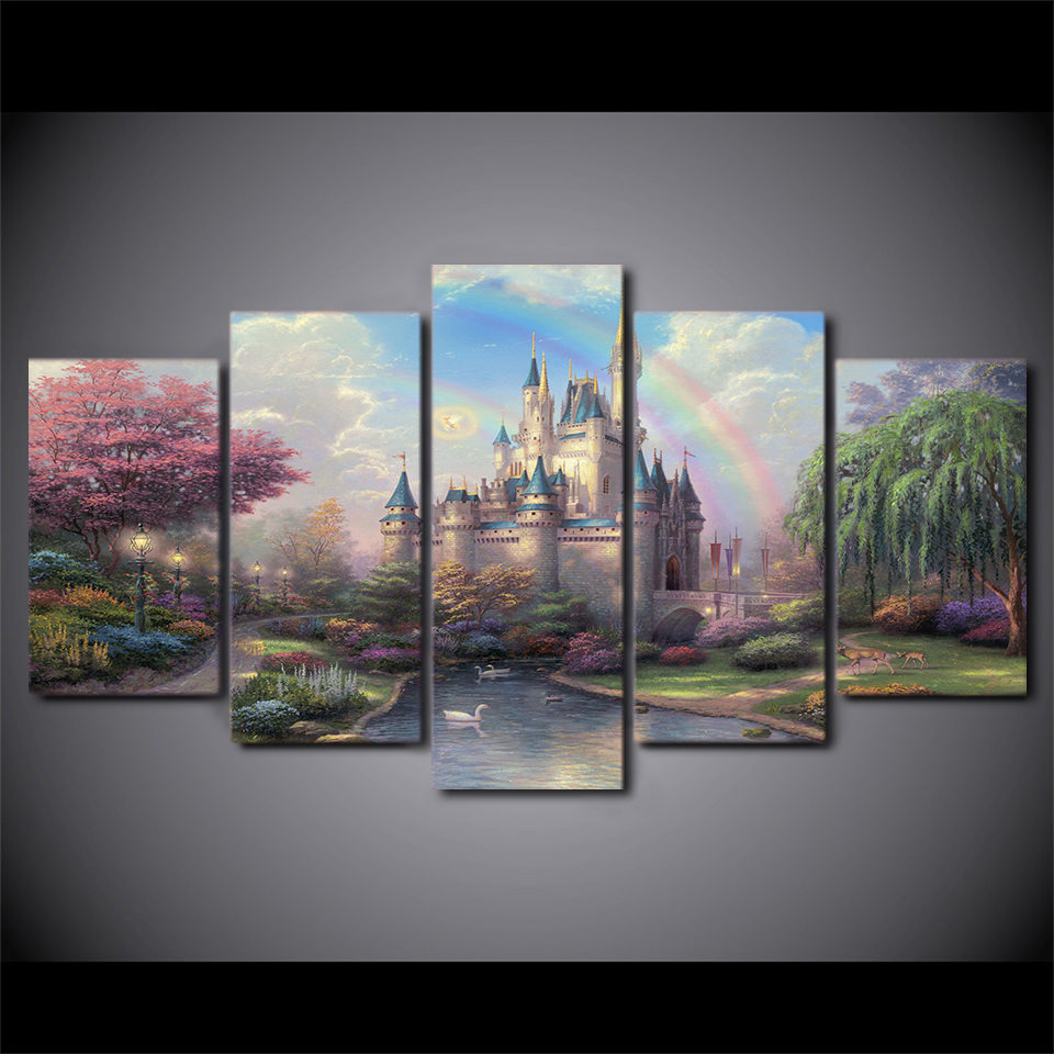 HD printed 5 piece canvas art cinderellas castle painting wall art livingroom decoration print poster free shipping/ny-1015